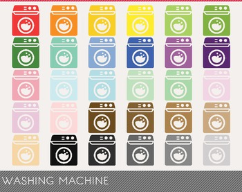Washing Machine Digital Clipart, Washing Machine Graphics,