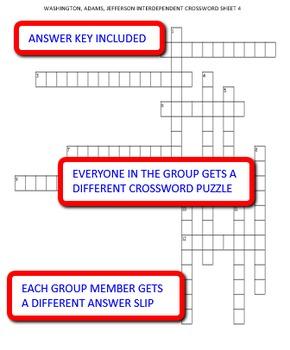 Washington, Adams, Jefferson: Interdependent Crossword Puzzles Activity