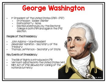 Washington Adams Jefferson Posters and Interactive Notebook INB Set