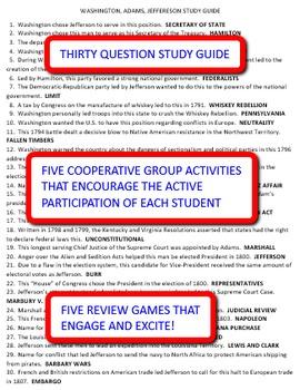 Washington, Adams, Jefferson: Study Guide and Activity Pack