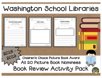 Washington Children's Choice Picture Book Award 18 - 19  Book Review Pack