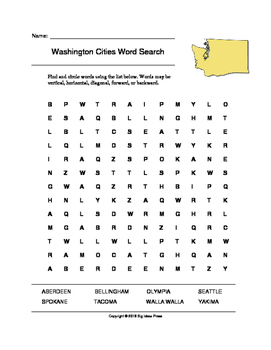 Washington Cities Word Search (Grades 3-5)