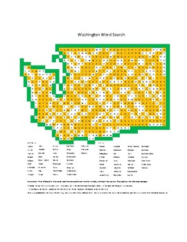 Washington Counties and Cities Word Search