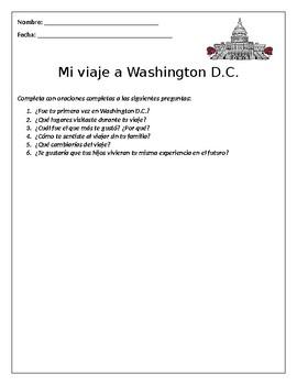 Washington D.C Actividad de Escritura