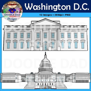 Washington D.C. Clip Art (Capitol Building, Washington Monument, White House)