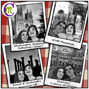 Washington D.C. Clipart USA Travel Gray-scale CM