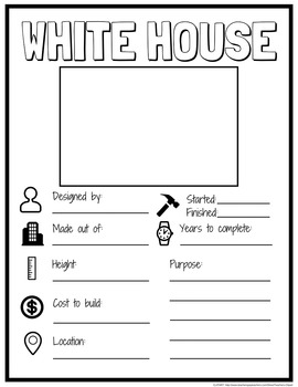 Washington D.C. Famous Landmarks Fill In Research POSTERS (BW & COLOR)