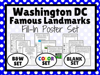 Washington D.C. Famous Landmarks Fill In Research POSTERS
