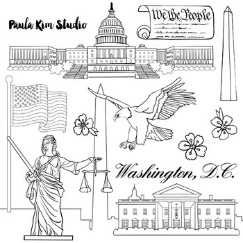 Washington D.C. Federal Government Clip Art Watercolor