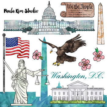 Washington D.C. Federal Government Clip Art Watercolor