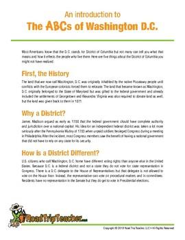 Washington, D.C. Handwriting Printables - Cursive Edition
