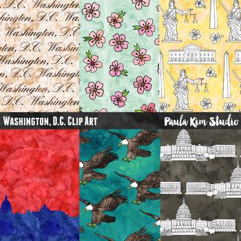 Washington D.C. Watercolor Digital Paper