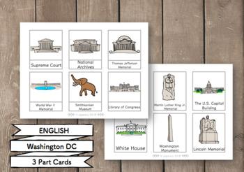 Washington DC 3 Part Cards (English) Montessori ワシントンDC絵カード モンテッソーリ