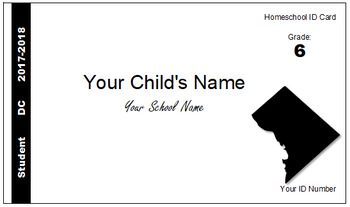 Washington DC Homeschool ID Cards for Teachers and Students