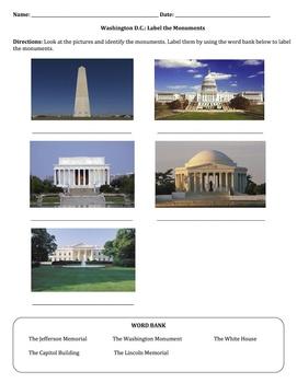 Washington D.C.: Label the Monuments
