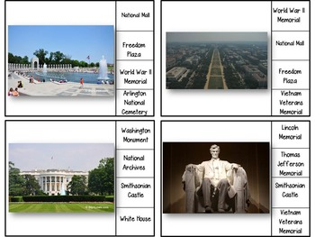 Washington D.C. Monuments & Memorials - Clip Cards