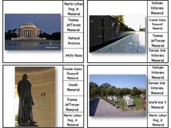 Washington D.C. Monuments & Memorials - Clip Cards