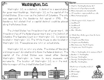 Washington, D C  Our Nation's Capital Differentiated Reading Passages