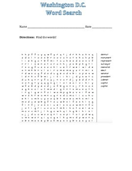 Washington DC Word Search