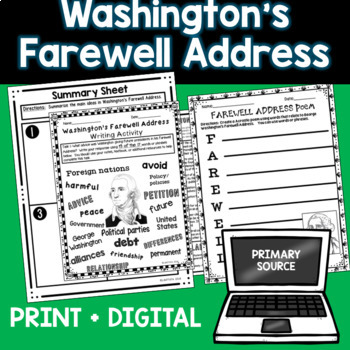 Washington Farewell Address - Close Reading, Writing Assignment, and Notes