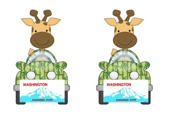 Washington Giraffe in a car: Name plate for desktag for jungle or safari theme!