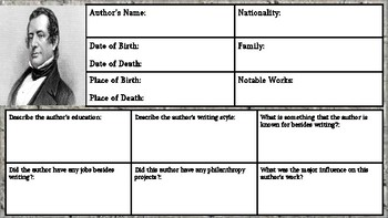 Washington Irving: Author Biography Worksheet