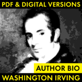 Washington Irving Author Study Worksheet, Easy Biography Activity, CCSS