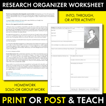 Washington Irving Author Study Worksheet, Easy Biography Activity, CCSS