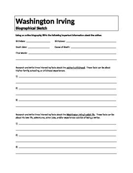 Washington Irving Biographical Sketch Assignment