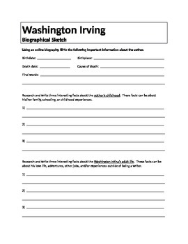 Washington Irving Biographical Sketch Assignment