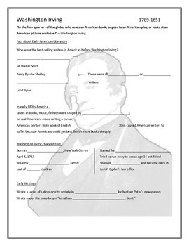 Washington Irving Biography PowerPoint Notes Page