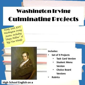 Washington Irving Culminating Projects Task Cards (Sleepy Hollow/Rip Van Winkle)