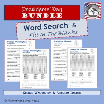 Presidents' Day Bundle - Hidden Message Word Search and Fill in the Blanks
