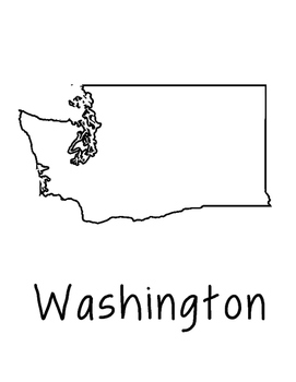 Washington Map Coloring Page Craft - Lots of Room for Note-Taking
