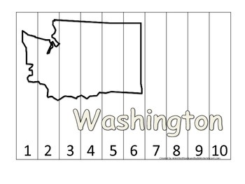 Washington Number Sequence Puzzle.  Learn the States preschool printable game.