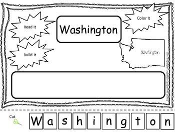 Washington Read it, Build it, Color it Learn the States preschool worksheet.