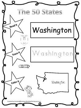 Washington Read it, Trace it, Color it Learn the States preschool worksheeet