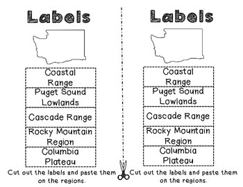 Washington Regions: A cut and paste activity