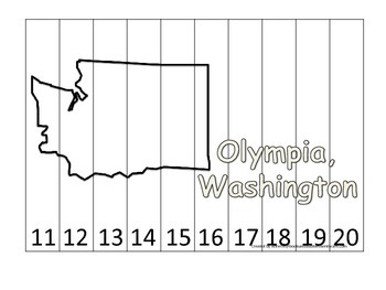 Washington State Capitol Number Sequence Puzzle 11-20.  Geography and Numbers.