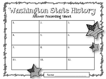 Washington State History. Task Cards. US History. Answer Key Included!