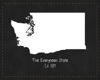 Washington State Map Class Decor, Government, Geography, Black and White Design