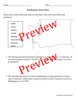 Washington State Map & Math (Solve Word Problems based on Info on A Map)