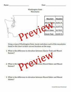Washington State Map & Math (Solve Word Problems based on