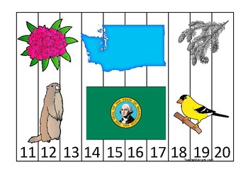 Washington State Symbols themed 11-20 Number Sequence Puzzle Preschool Game.
