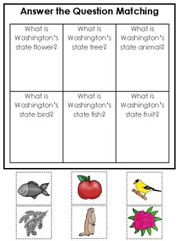 Washington State Symbols themed Answer the Question Preschool Literacy Game.