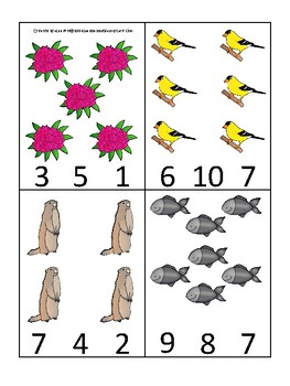 Washington State Symbols themed Count and Clip Preschool Counting Card Game.