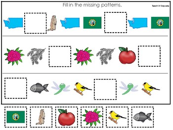 Washington State Symbols themed Fill In the Missing Pattern Preschool Math Game.