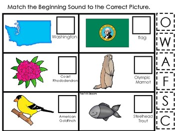 Washington State Symbols themed Match the Beginning Sound Preschool Phonics Game