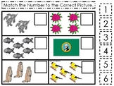 Washington State Symbols themed Match the Number Preschool Math Counting Game.