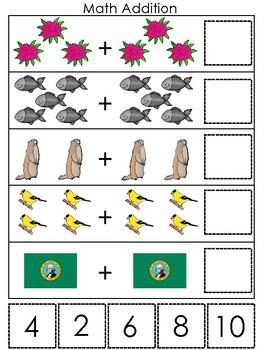 Washington State Symbols themed Math Addition Preshool Learning Math Game.